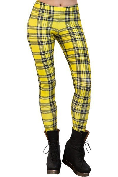 Fashion font b Tartan b font Yellow Leggings women Lady Girl clothing Pants Wholesale S M