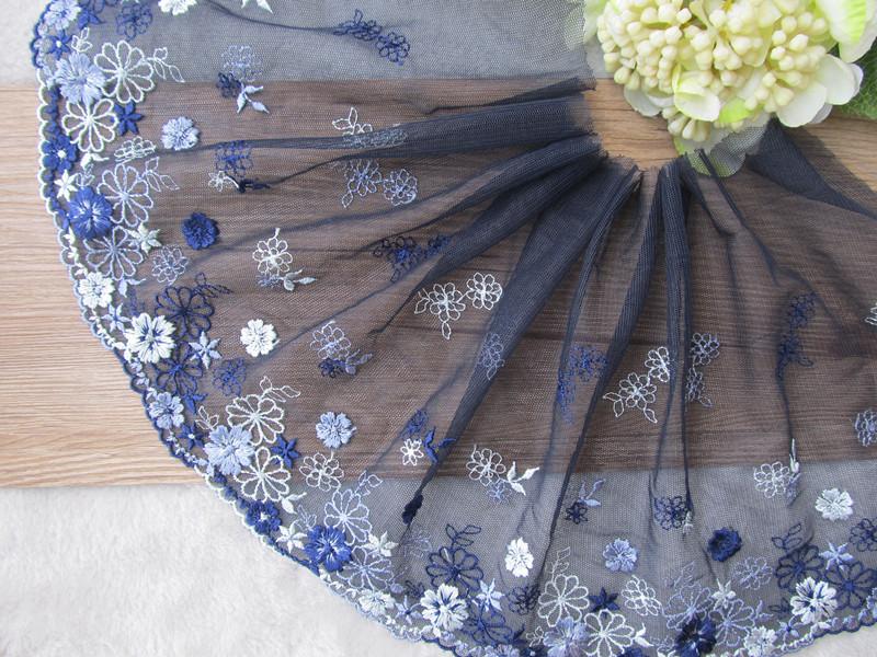 21cm Width Dark Blue Lace Flower Embroidered Lace Trim Braid Applique Crafts Sew(China (Mainland))