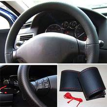 Hot Truck Universal Leather DIY Steering Wheel Car Cover With Needles and Thread Black Red(China (Mainland))