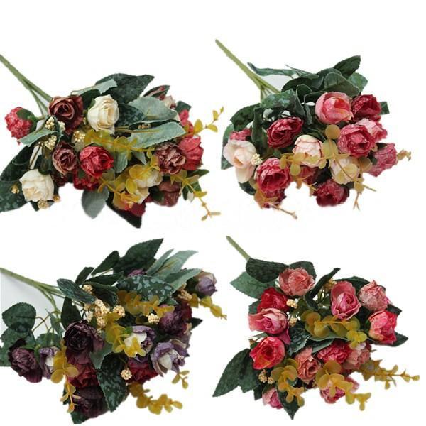 1PCS Small Silk Fake Peony Artificial Flower Leaf Home Decor Wedding Bridal Bouquet(China (Mainland))