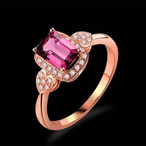 1.30ct Emerald Cut 4x6mm Pink Tourmaline Ring And Diamonds In 18Kt Rose Gold WU269(China (Mainland))