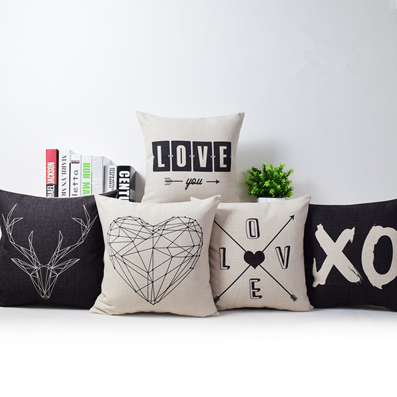 Romantic Modern Simple Beige Love Star Pattern Pillow Case Deer and Panda Chair Square Throw Pillow Cover Decorative Pillows(China (Mainland))