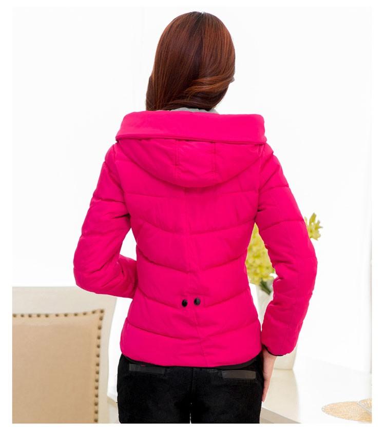 Скидки на XL-6XL2016 Осень Зима Мода Женщины Хлопок вниз куртка Пальто свободный Досуг Чистый цвет С Капюшоном согреться Большой размер Пальто G1337