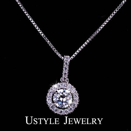 Hearts & Arrows cut 0.75 carat Swiss CZ Diamond Round Halo Pendant Necklace (Ustyle UN0005)(China (Mainland))