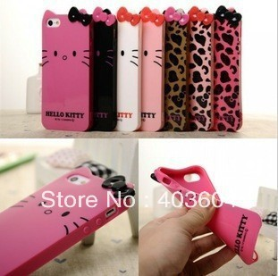 Free Shipping Hello Kitty TPU Leopard & Bow Back Cover Phone Case for Iphone 5 5S 1piece free shipping