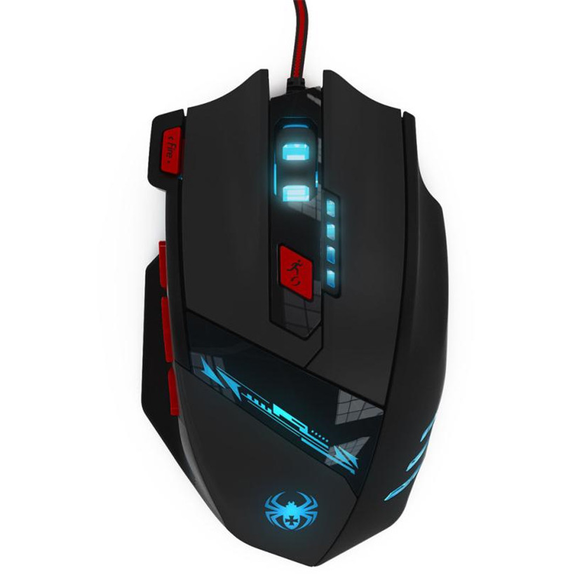 Del Latest Version ZELOTES 8000 DPI 8 Key Memory Chips Design 6 Optical LED Wired Game Mouse Mar02D6(China (Mainland))