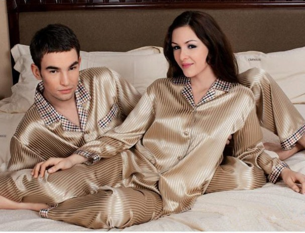 Free shipping Chinese Heavy silk satin sleepwear 100% mulberry silk long-sleeve lovers silk pajamas set for couple home clothes(China (Mainland))