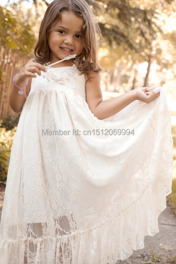 Girls maxi dress lace flower girl dress rustic wedding for Country wedding flower girl dresses