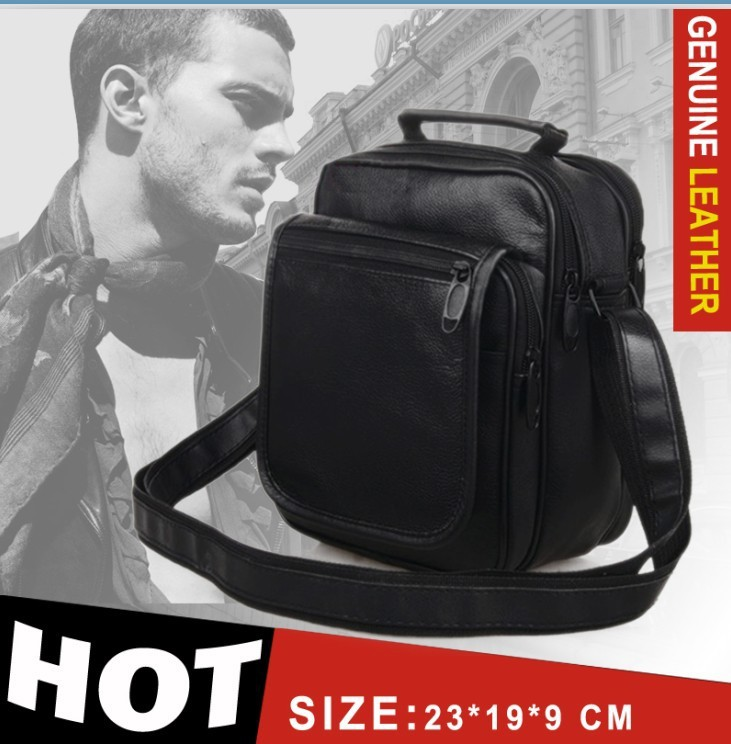Men Massager Bag Genuine leather Bolsa Body cross Bag Business Portfolio Casual Shoulder Genuine Leather Mochila bag 23*19*9 cm(China (Mainland))