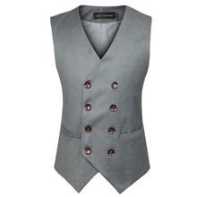 Nouveau mode Double boutonnage , Plus la taille Slim Fit Chaleco Hombre manches coton gilet costume gilet costume Mens gilet(China (Mainland))