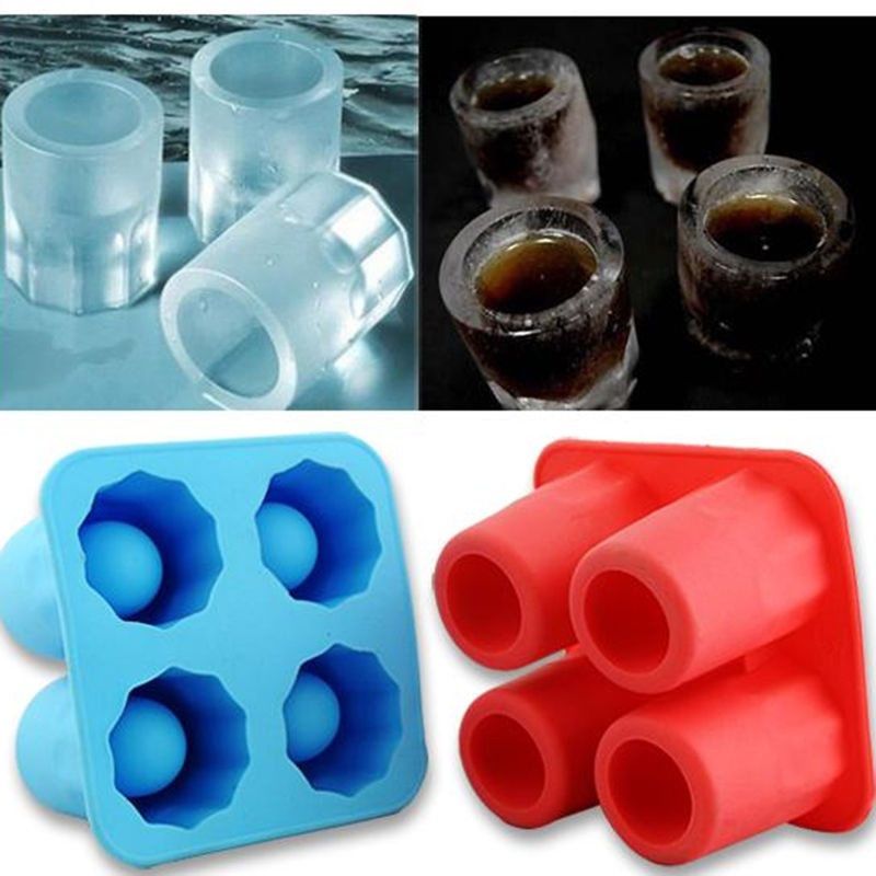2016 New Cool 4 Cup Shape Rubber Shooters Ice Cube Shot Glass Freeze Mold Bar Bear Tool Free Shipping(China (Mainland))