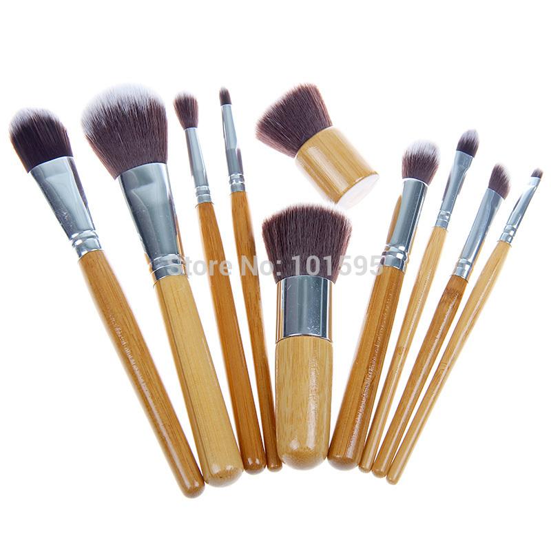 Professional 10 PCS Pro Cosmetic Brush set Bamboo Handle Synthetic Makeup Brushes Kit make up brush set tools(China (Mainland))