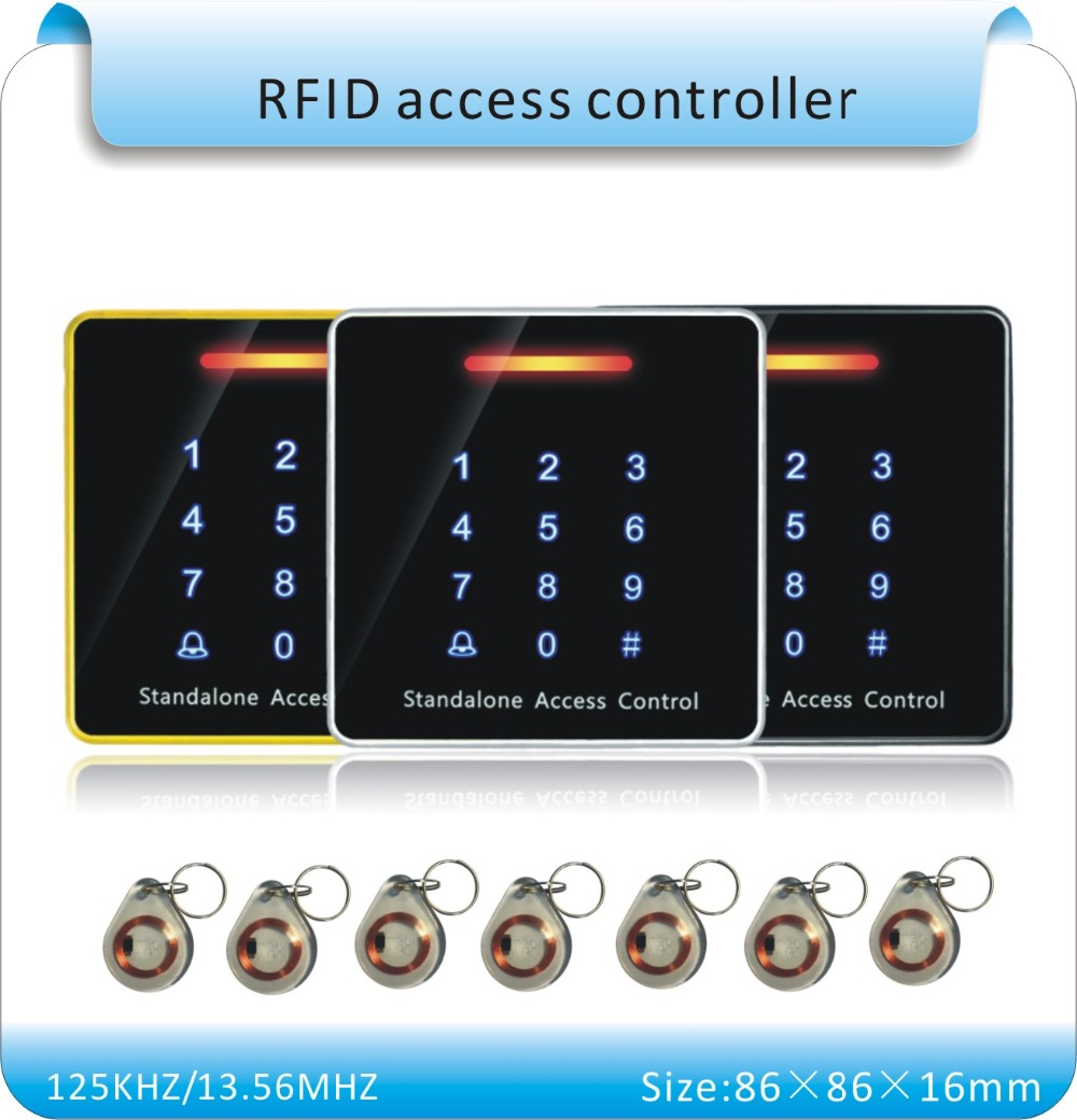 Free shipping+10 pcs crystal keyfobs+RFID Proximity Card Access Control System touch Keypad Access Controller()