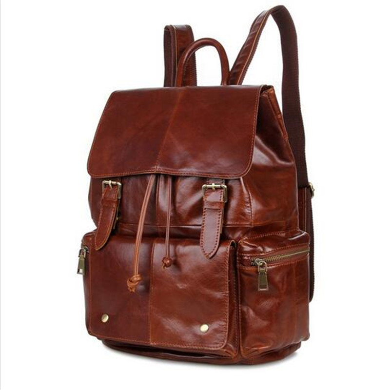 Men's Genuine Leather Backpacks Man's Travel Bag Hot Selling Brand Name Classical Design Backpack Schoolbags Men Bags Laptop bag(China (Mainland))