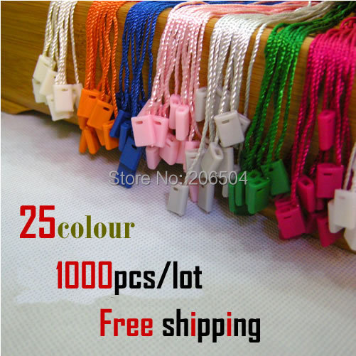 25 colour hangtags seal hang tag string /free shipping/free design/string hang tag/plastic tag string plastic fastener SHTDL04(China (Mainland))