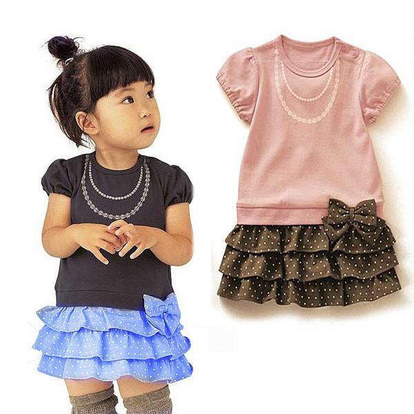 Kids Girls Baby Necklace Pattern One Piece Dress Bow-knot Ruffled Dress 1-6 Year(China (Mainland))