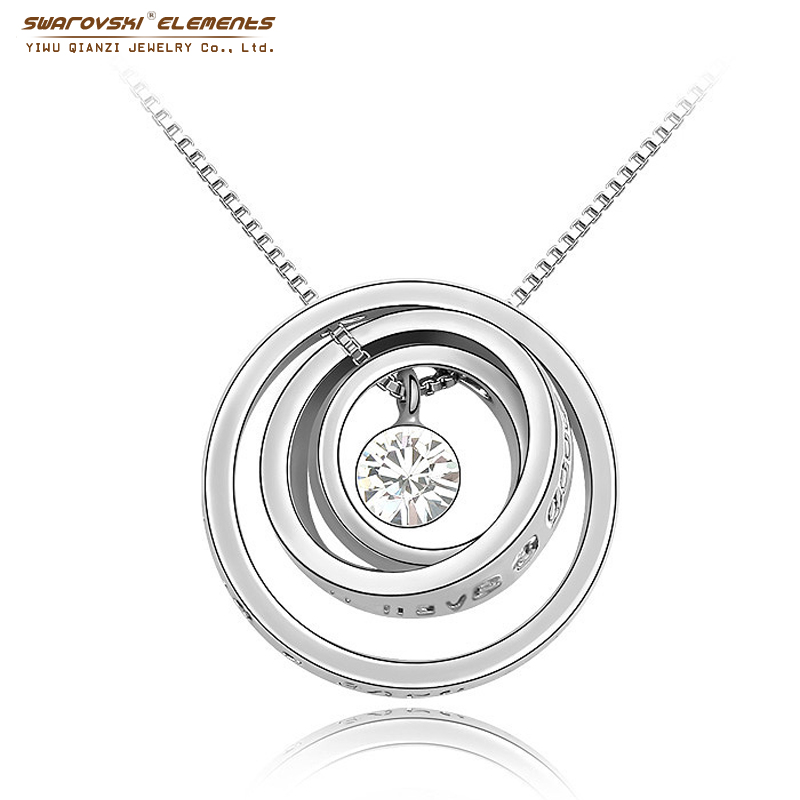 pendant Rhinestone crystal necklace 8 Colors Made with SWAROVSKI ELEMENTS 18K Gold Plated Concentric circles #1-021(China (Mainland))