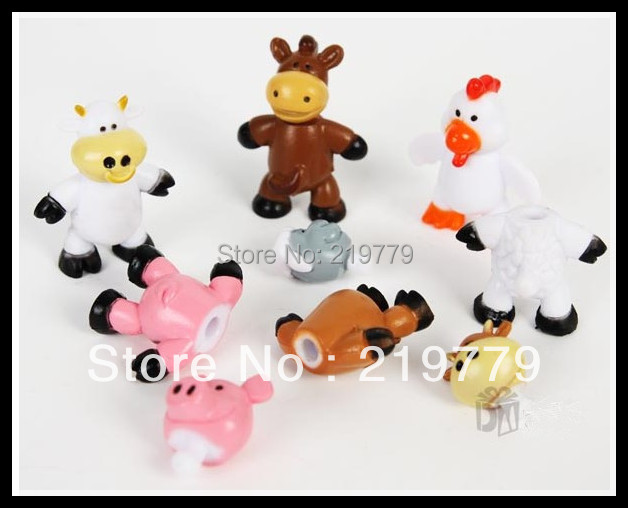 6pieces/pack Plastic Cartoon Farm Animals Model Doll Sets Cow Sheep Early Development Toys for Children(China (Mainland))
