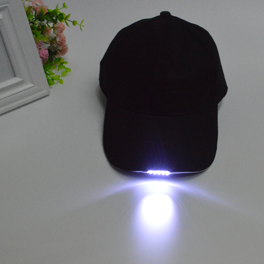 Free Shipping Black Color Lighted LED Built In 5 Flashlight Hat Baseball Cap Night Walking Hiking