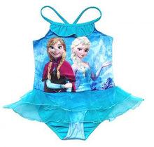 Retail 2015 Kids Swimsuit 3 10Y Girls Elsa Anna Swimwear Children Swim Costume Sunbath Beachwear Bikini