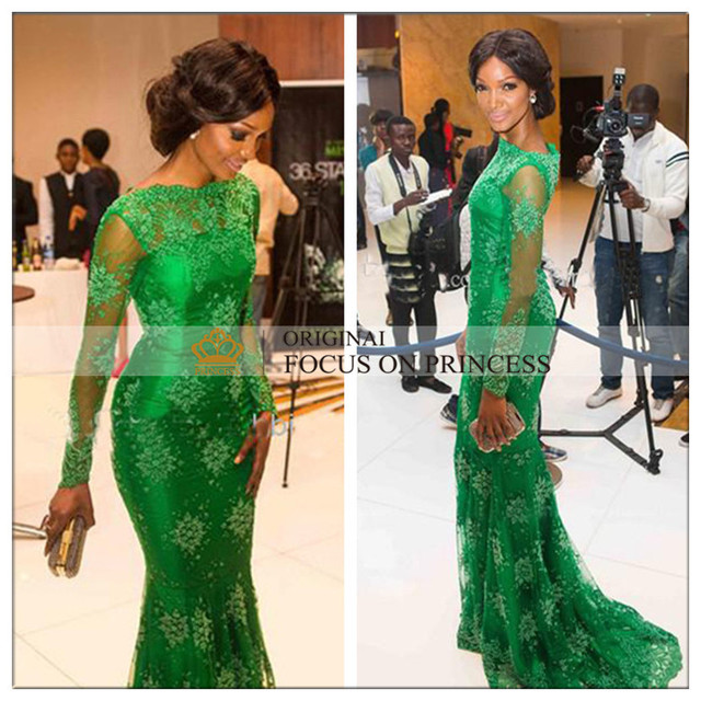 2015 New Style Red Carpet Miss Arabic Style Nigeria Mermaid Long Sleeves Green Lace Evening