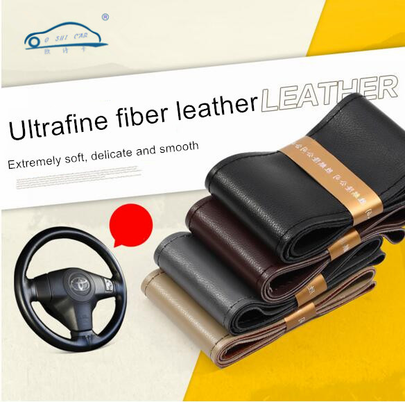 DIY Durable Skidproof Car Steering Wheel Cover /With Needles and Thread high quality Genuine Artificial leather 38cm(China (Mainland))
