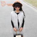European American Style Kids Fur Vest Fashion Faux Fur Girls Coat 2015 New Autumn Winter Children