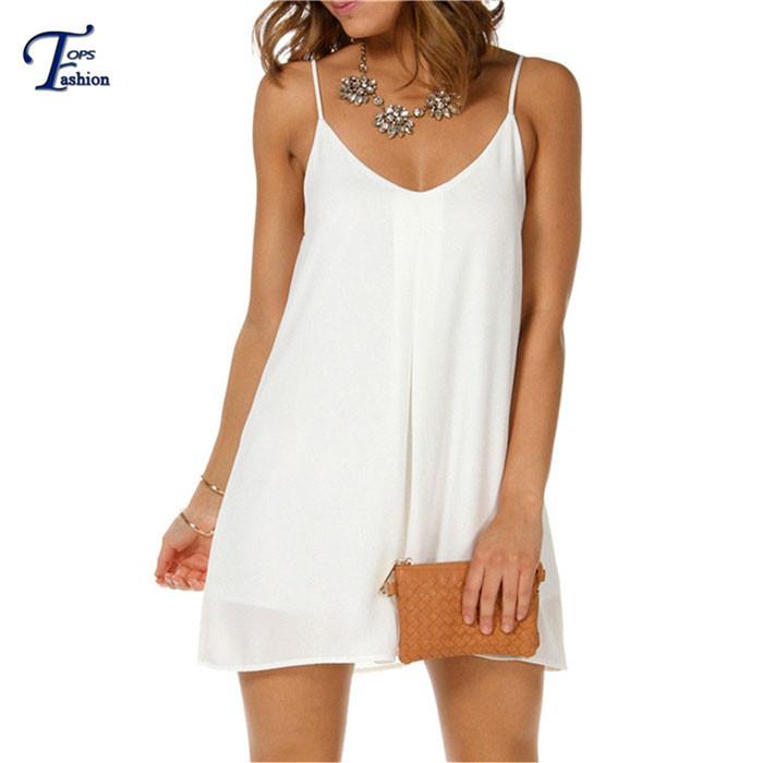 2015 Sheinside Summer Style Fashion Women Dresses White Spaghetti Strap V Casual Loose Mini Shift Dress(China (Mainland))