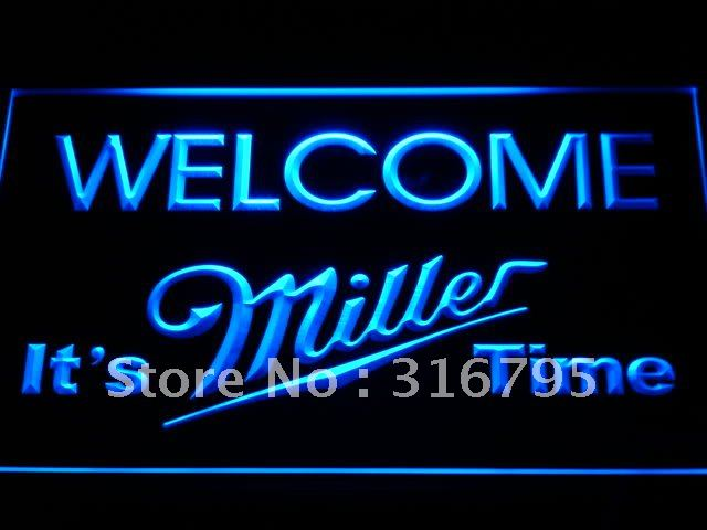 a206-b It's Miller Time Welcome Bar LED Neon Light Sign Wholesale Dropshipping On/ Off Switch 7 colors DHL(China (Mainland))