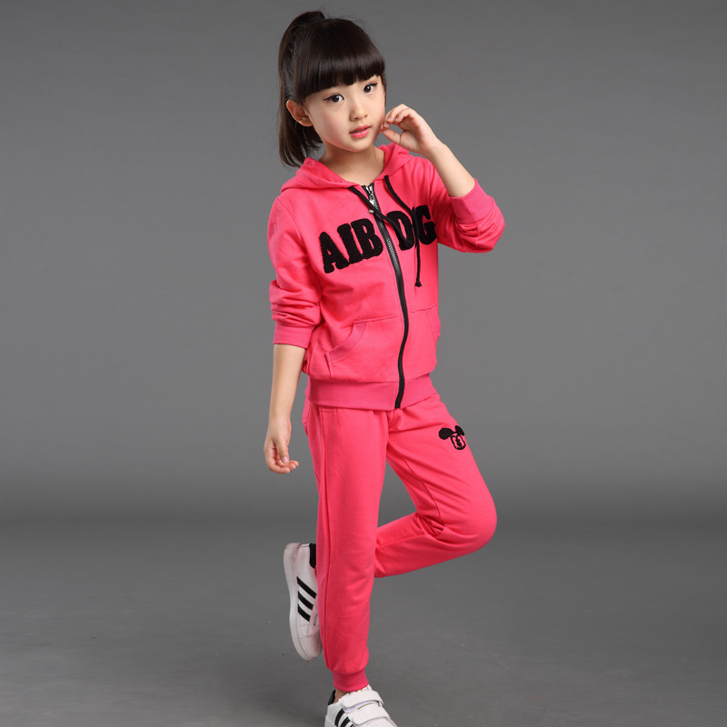 2015 New Autumn Winter Girls Clothes Sport Zipper Tops Pants Two Piece Hooded Children Set Clothing 4-15 years Old Kids Clothes(China (Mainland))