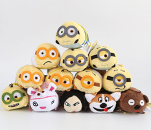 10pcs/lot 3.5'' Minions 2015 Mini Tsum Tsum Plush Toy Doll Screen Cleaner iPhone Juguetes Set Scarlet Overkill Stuart Kevin Bob(China (Mainland))