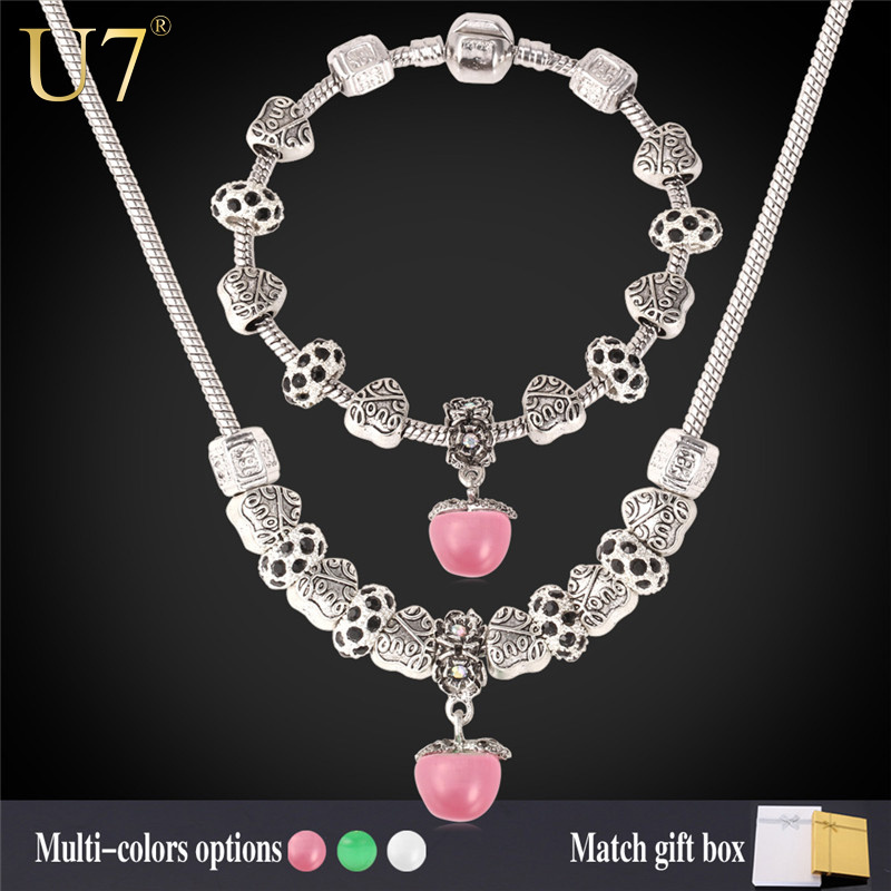 DIY Bead Necklace Set 2015 New Tibetan Silver Plated Opal Natural Stone Pendant Necklace Bracelet Jewelry Set Wholesale S606(China (Mainland))