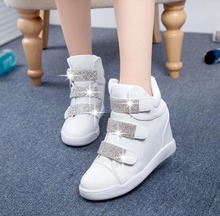 2016 new spring autumn ankle boots heels womens casual sport height increased wedges shoes high top shoes women fashion shoes(China (Mainland))