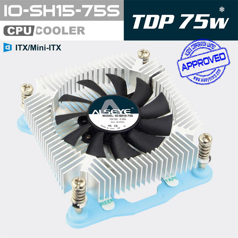 ALSEYE IO-SH15-75S ITX / OPS / CUP cooler 4 pin PWM 75W 1500-3500RPM 65 x 65 x 10mm Cooling Fan for computer Heat sink Radiator(China (Mainland))