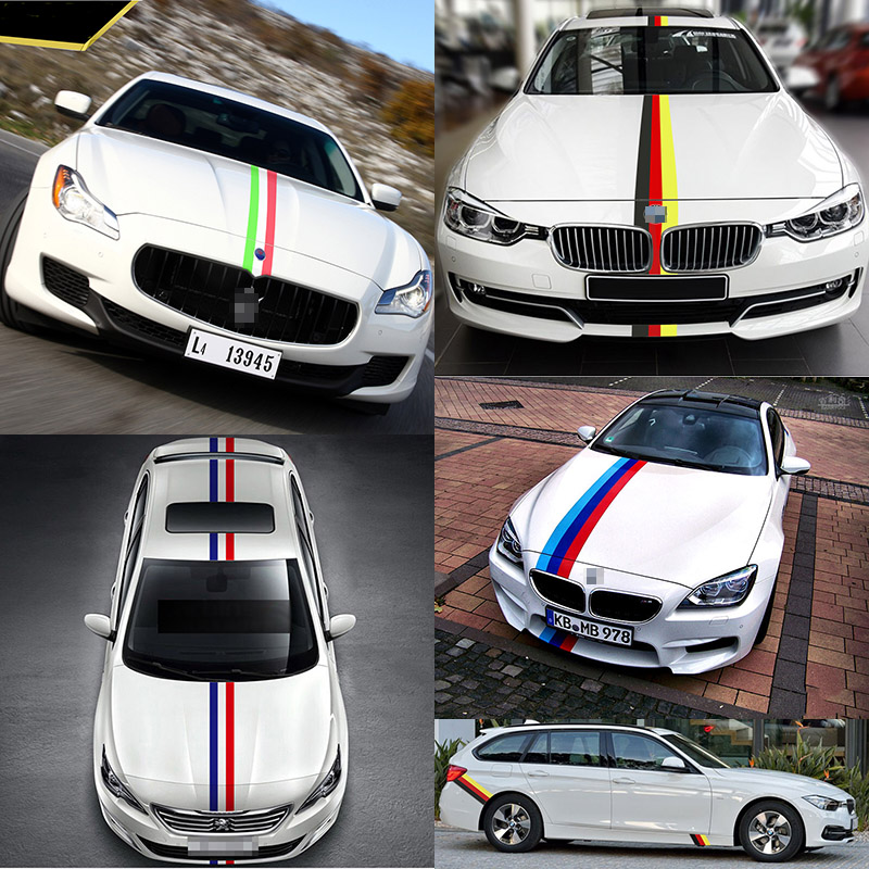 1 Meter France/Italy/Germany M-Colored Stripe Car Hood Sticker Decal For BMW M3 M5 M6 E46 E90 X3 X5 X6 3/5/7 Series For Audi VW(China (Mainland))