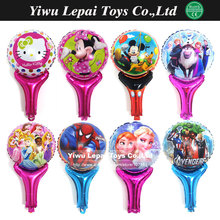 10pcs/lot Multi styles  cartoon hand held Foil balloon Globos,Superhero princess Sofia Minions printed handheld balloon toys.(China (Mainland))
