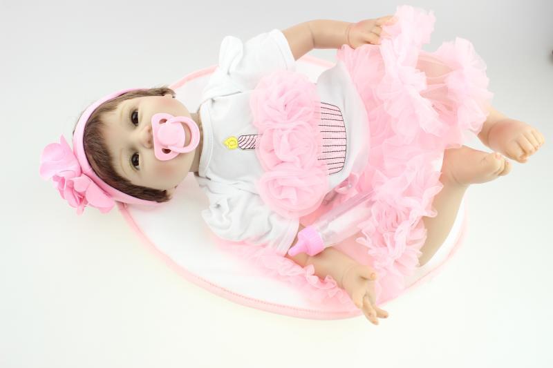 Elegant 22 Inch Soft Silicone Baby Dolls Reborn Handmade Kids Hobbies Princess Dolls Toys For Children Birthday Gift<br><br>Aliexpress