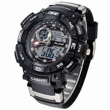 Brand Alike 50m Waterproof Swimming Sports Watches Men Quartz Analog Digital Watch Rubber Wrist LED Watch Relogios Masculino