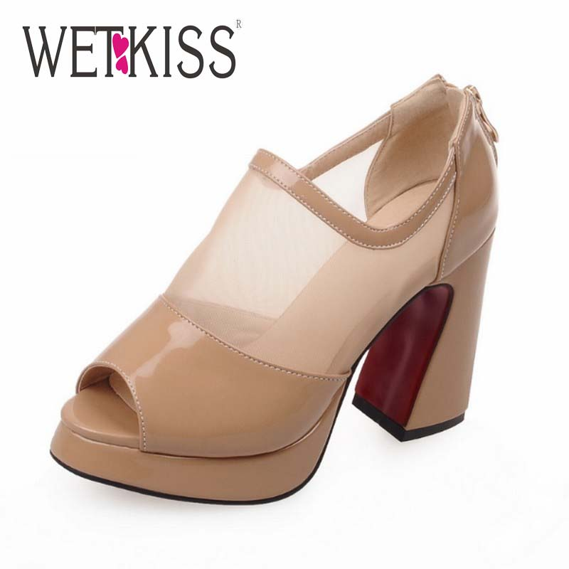 Fashion Women Ankle Boots Sexy Mesh Shoes Woman Peep Toe Boots Zip Hoof High Heels Shoes Platform Summer Boots 2016 New Arrival