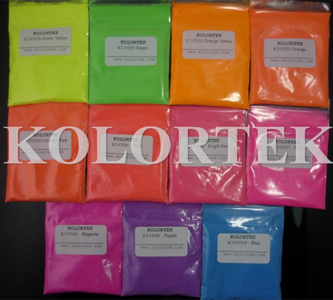 Fluorescent Pigments, Fluorescent Powders, Red, Green, Orange, Pink, Yellow, etc.(China (Mainland))
