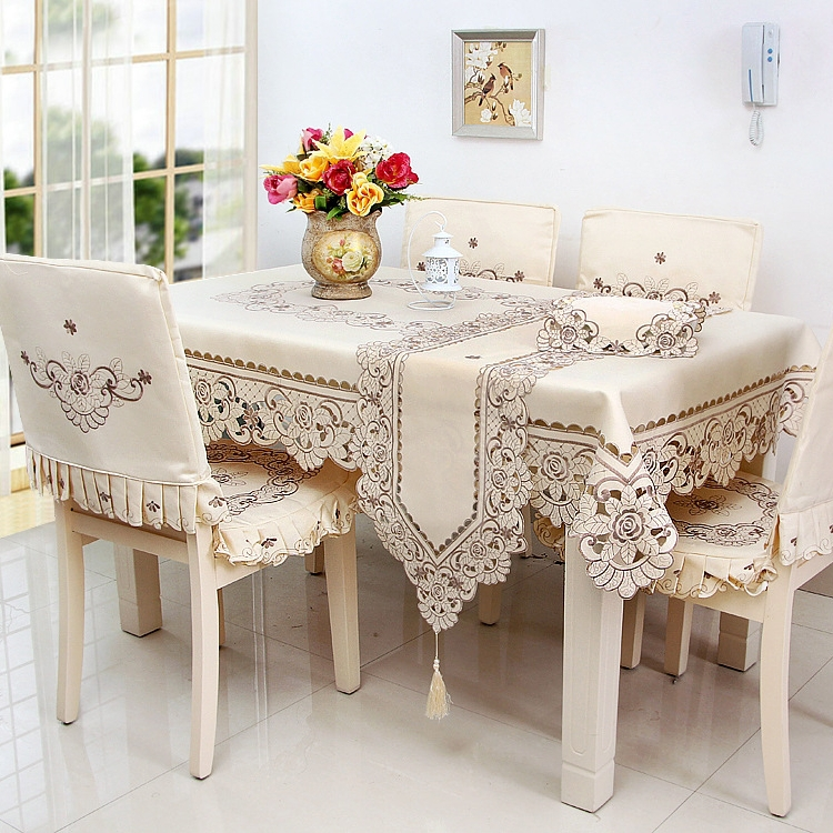 Fashionable Polyester Satin Jacquard Embroidery Floral Tablecloth Solid Color Embroidered Table Linen Cloth Cover Overlay YYM010(China (Mainland))