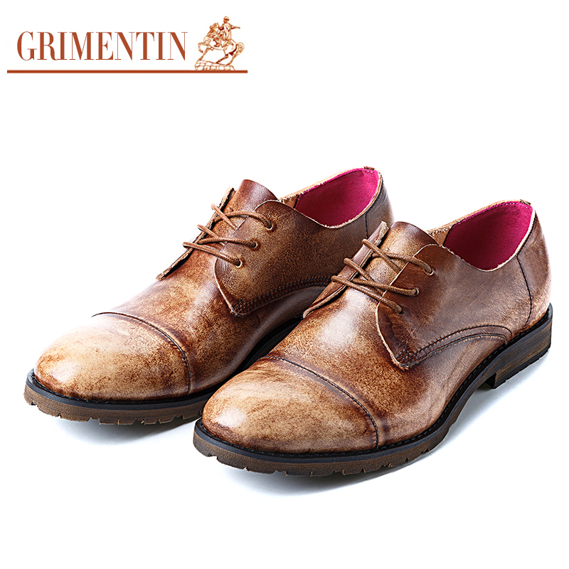 GRIMENTIN Fashion Black genuine leather mens dress shoes casual business shoes cap toe brown wedding office male shoes men flats(China (Mainland))