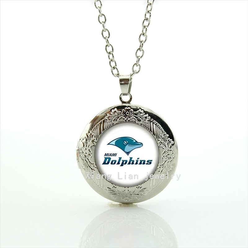 Trendy round bijoux dolphin locket necklace Miami Dolphins team Newest mix 32 NFL team Souvenirs jewelry gift for lover NF146(China (Mainland))