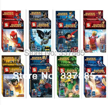 2014 Super Heroes Avengers Iron Man Hulk Batman Wolverine Thor Superman Building Blocks Sets Minifigure DIY Bricks Toys Toy - Meet old friends store
