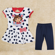 Baby girl kids clothing sets 2014 New  spring/autumn baby casual clothing for girls 100% cotton girls clothes (China (Mainland))