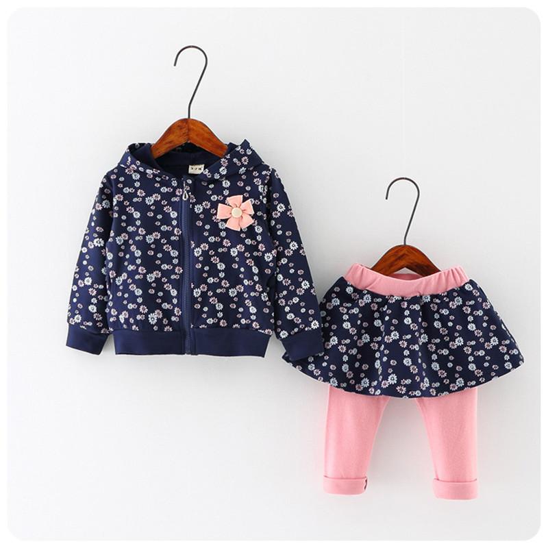 2016 NEW Spring Autumn baby girls clothing set kids long sleeve cartoon <font><b>Small</b></font> floral casual set T <font><b>shirt</b></font>+pants <font><b>2</b></font> pcs clothes suit
