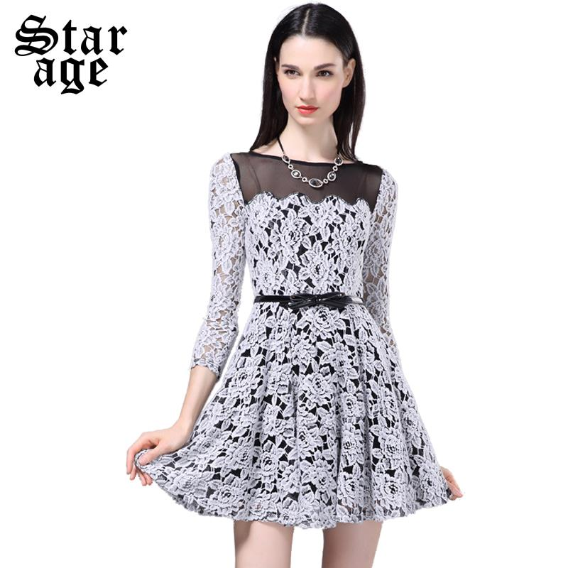 S-XL Brand Sexy Women Hollow Flower Sanding Lace Dresses 2016 Spring Fashion Ladies 3-4 Sleeve A-Line Dress 8607(China (Mainland))