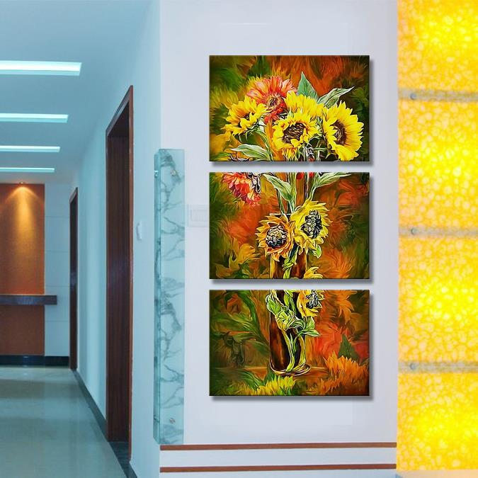 2014 New 3Panels Sunflower golden color Modern Wall Painting flower Decorative Art Picture Paint Canvas Prints - Home Decor store
