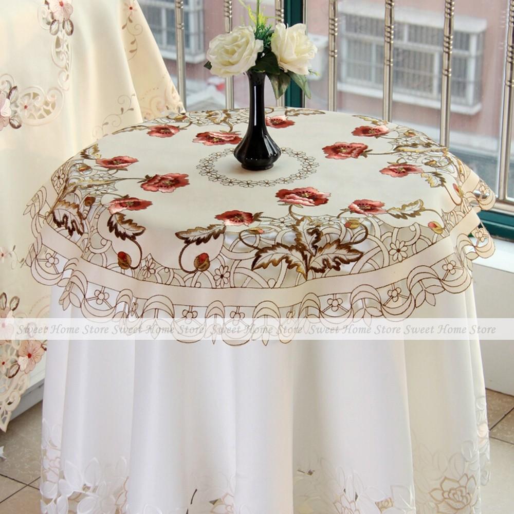 YEVITA Embroidered Peony Fairy Garden Round 85x85cm Fabric Cafe Tea Tablecloth(China (Mainland))