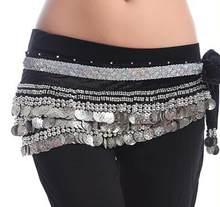 Plus de couleurs femmes Dancewear classe porter hanche écharpe 338 pièces or/argent réglable Fit velours ceinture avec de petites perles(China)